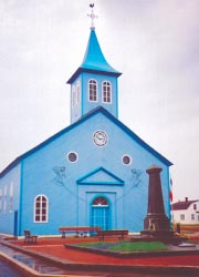 Church on Miquelon Island where many Acadian families sought refuge after the deportation of 1755. // © Gayle Christensen