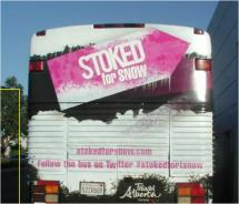Travel Alberta's snow bus visits southern California to promote its Stoked for Snow campaign // © 2011 Travel Alberta