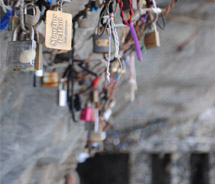 Lovers show their amore with locks on Lovers Lane in the Cinque Terre. // © 2010 Janeen Christoff