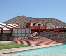 Taliesin West, a National Historic Landmark, exemplifies Frank Lloyd Wright's architectural style. // © 2012 Mindy Poder