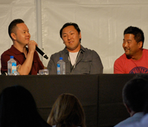 At The Taste in L.A., chefs Jet Tila (left), Sang Yoon and Roy Choi explain why Los Angeles is an exciting destination for both chefs and foodies. // © 2011 Blessing Yen