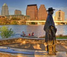 "Stevie Ray Vaughan Memorial on the shores of Lady Bird Lake. // © 2013 Dan Herron/<a title=""HerronStock.com"" href=""http://www.HerronStock.com""..."