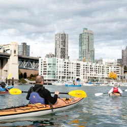 Starting May 1, Ecomarine Ocean Kayak offers guided kayaking in the protected city inlet of False Creek. // © 2013 Tourism Vancouver