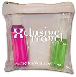 Personalized Transportation Security Administration (TSA)-compliant travel kit.