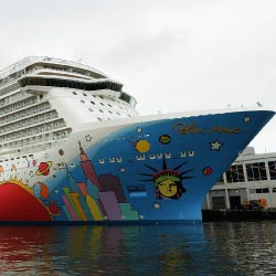 Breakaway's hull features artwork by Peter Max. // © 2013 Getty Images for Norwegian Cruise Line
