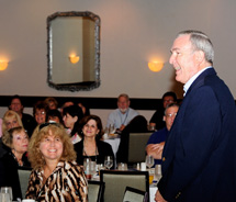 Richard Fain pays a surprise visit to travel agents during the June 6 Boot Camp in Fort Lauderdale. // © 2012 Signature Travel Network