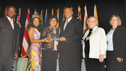 Left to right: Hugh Riley, CTDC; Miss Turks and Caicos; Hazel Affonso, Affordable Travel; Allan Parris; Maybelle Raven, RMR Group; and Manon LeBlanc, Air Canada Vacations