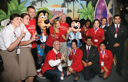 Mickey Mouse and Goofy greeted Virgin Group