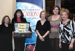 Winners from left to right: Christine Ezsell, Mann Travels; Robin Sylvester, US Airways; Sherry Mulcahy, Enchanted Travel; Melanie Dyer, Creative Travel; and Karen Hvizdak, Cruise Ahoy