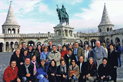 Ensemble Travel Group's luxury and marketing committee members, staff and travel partners at Fisherman's Bastion in Budapest