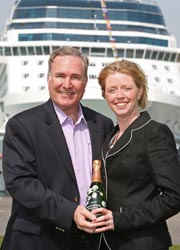 Richard D. Fain, chairman and CEO of Royal Caribbean Cruises, and godmother of the Celebrity Eclipse, Emma Pontin