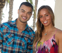New South Wales native, Australian surf sensation and, most recently, U.S. Surf Open winner Sally Fitzgibbons poses with Australian Idol winner Guy...