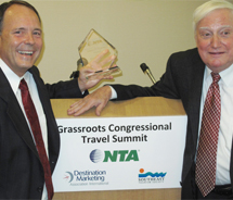 Mark Hoffmann (left), pictured with James D. Santini, received NTA's James D. Santini Award for his advocacy work on behalf of the tourism industry....