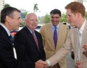 <p>Left to right: Representatives of the Sheraton Nassau Beach Resort & Casino and Baha Mar greet Price Harry. // © 2012 Sheraton Nassau Beach...