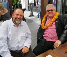 TravelAge West Editor-in-Chief Ken Shapiro (left) met with Sandals' founder Butch Stewart at a luncheon to celebrate the resort company's 30th...