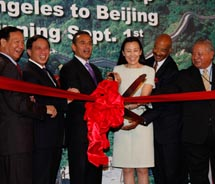 Los Angeles Mayor Antonio Villaraigosa (center) joined the Chinese Consul General in Los Angeles, the Hon. Shaofang Qiu; Chinese Ambassador to the...