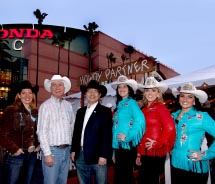 From left to right: Deanne Carson of Calgary Stampede; Quincy Smith of Travel Alberta; Bruce Okabe of Travel Alberta; Jessica Manning, Stampede...