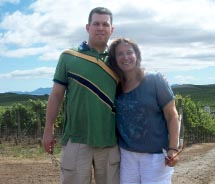 TAW Facebook contest winner Kevin Hirsch and his wife at Cuvaison Estates Winery in Napa Valley, Calif.