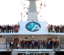 Ensemble Travel Group members at the Top 25 celebration cruise