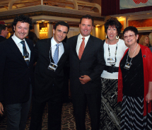 From left: Jose Luis Caneiro and Abel Matutes Pratts, Fiesta Hotels/Palladium; Tim Mullen, Apple Vacations; Maria Thomas and Judy Heydt, Judy &...