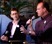 Christopher Utley (right) and Michel Den Dulk, creative director, Walt Disney Imagineering, answer questions about Disneyland's upcoming attractions....