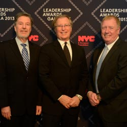 From left: MSG president and CEO, Hank Ratner; NYC & Company CEO, George Fertitta; and Javits president and CEO, Alan Steel, surrounded by the...