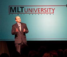 MLT's Ken Pomerantz broke news regarding MLT and United Vacations at the three-day conference. // © 2010 MLT VACATIONS