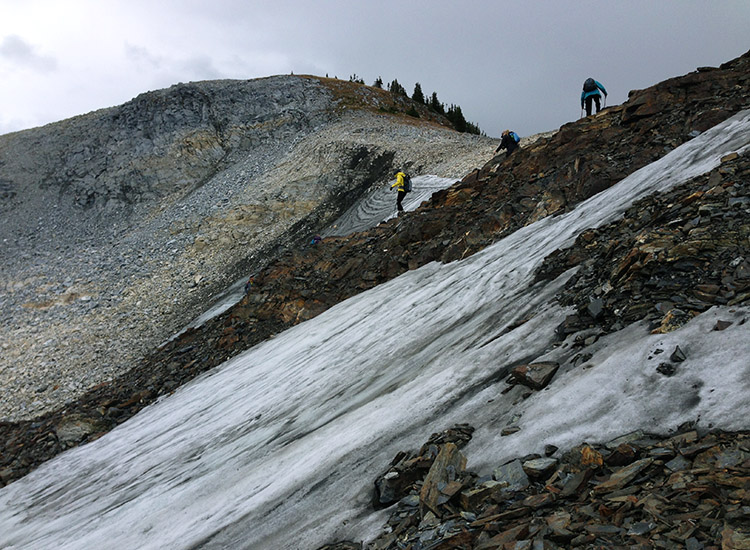 We hiked carefully over the remnant of a glacier, then down a steep slope. // © 2016 Michelle Juergen