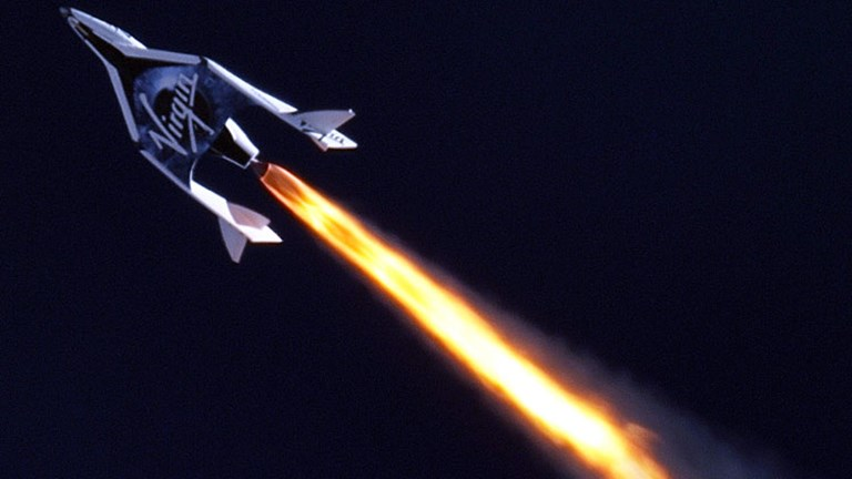 The six-passenger SpaceShipTwo, by Virgin Galactic, is expected to transport passengers by late 2013 or early 2014 // (c) 2013 2013 Virgin Galactic