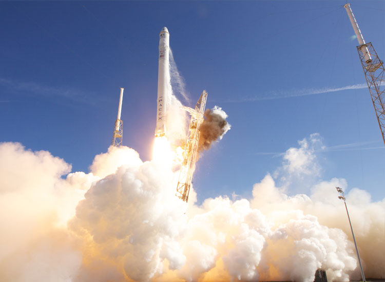 Falcon 9 lauch vehicle delivered back-to-back successes with its first three debut launches. The third flight made history, making SpaceX the first commercial company in history to visit the International Space Station. // (C) 2013 SpaceX