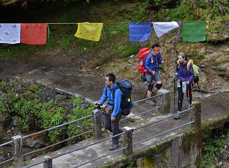 Trekkers, like this group from China, come from all over the world. // © 2015 Mindy Poder