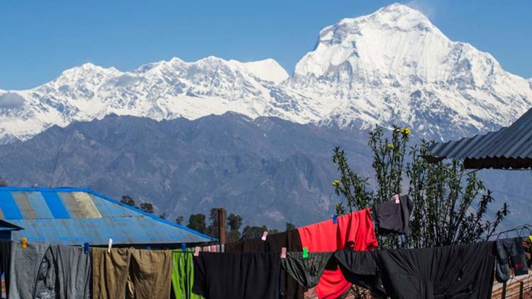 Ghorepani has a great view of Annapurna South before the clouds come out. // © 2015 Mindy Poder