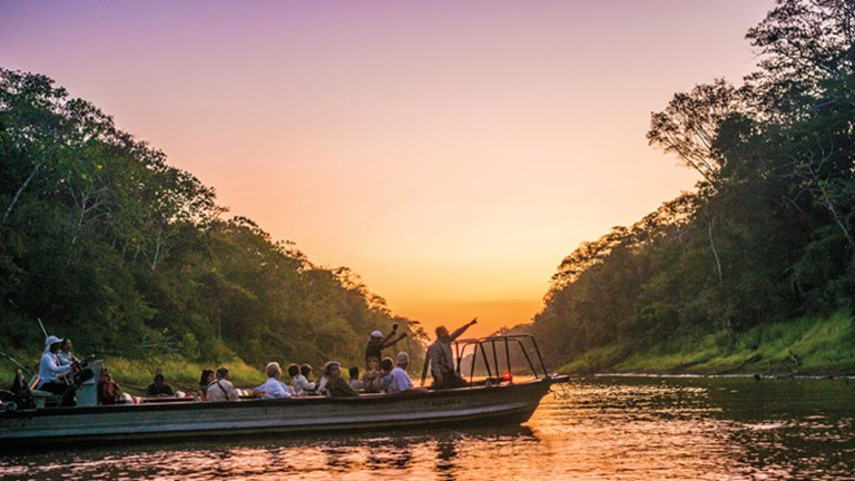 Lindblad Expeditions-National Geographic offers skiff rides at dawn on the Amazon River. // © 2017 Lindblad Expeditions