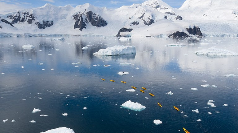 Or, if clients prefer to be active, they can kayak Antarctica with Seabourn Cruise Line. // © 2017 Seabourn Cruise Line