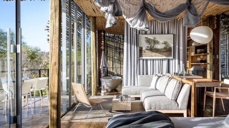 Singita Lebombo Lodge features glass-walled suites. // © 2017 Singita