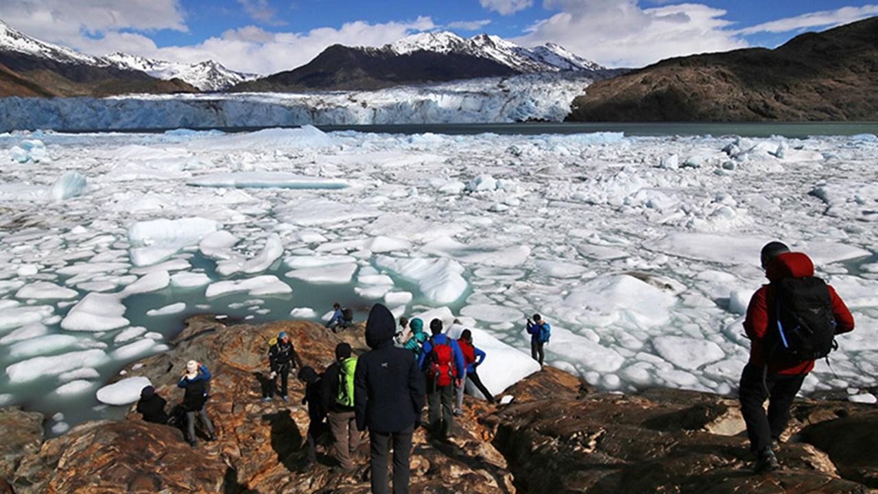Viedma Glacier is retreating so much that operators are no longer able to offer ice trekking on the glacier. // © 2018 Joshua Fhima