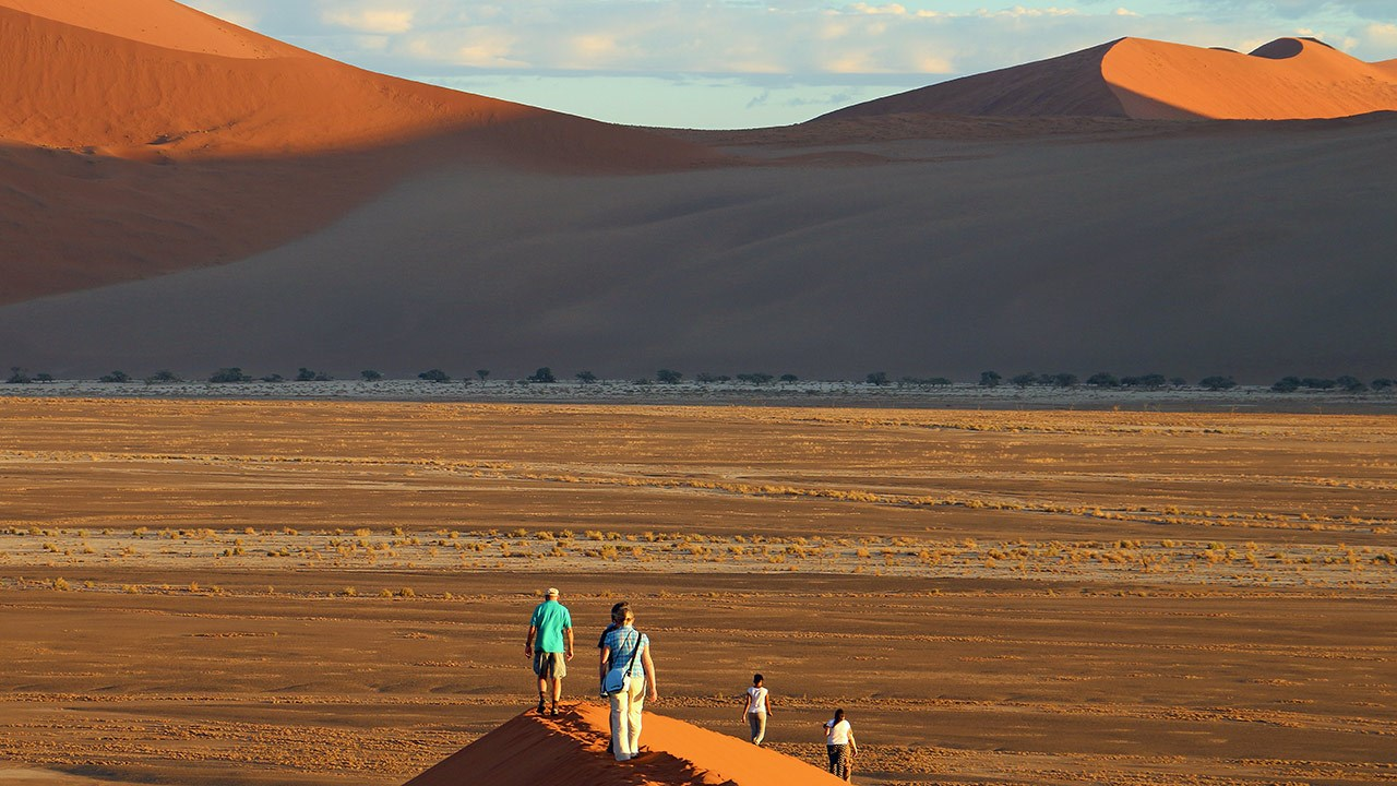 The Namib Desert is adjacent to Namibia's coastline, and the sea's fog provides needed moisture for the desert.