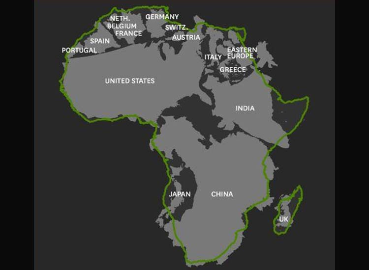 The world's largest countries fit snugly in the continent of Africa. // © 2014 Abercrombie & Kent