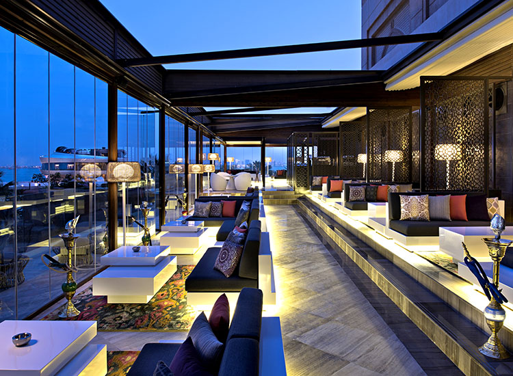 Shisha Terrace does not serve alcoholic drinks, but has delicious Middle Eastern cuisine, mocktails and shisha (hookah). // © 2015 Christian Horan/Four Seasons Hotel Doha