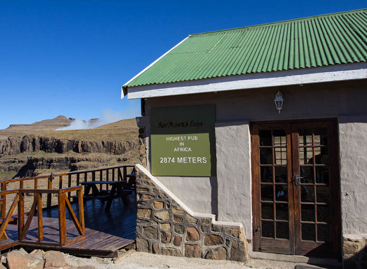 "Sani Mountain Lodge soars at 9,400 feet, which likely makes the supposed title of ""highest pub in Africa"" well-deserved. // © 2014 Devin Galaudet"