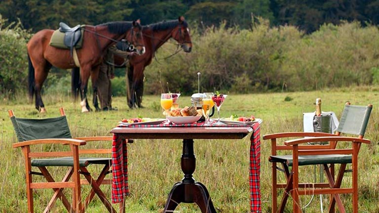 Guests can reserve a bush breakfast or dinner on the edge of the property, reached by a walk or a short horseback ride. // © 2016 Fairmont Mount Kenya Safari Club