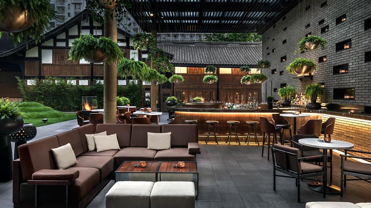 The hotel's Jing Bar offers a great spot to relax.