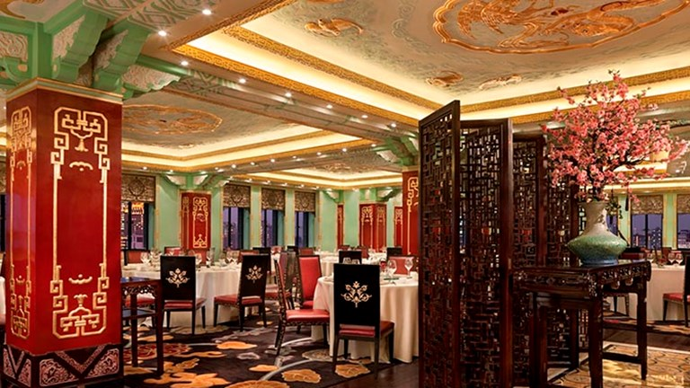 Dragon Phoenix restaurant, one of the property's five venues, serves Shanghainese and Cantonese cuisine. // © 2017 Fairmont Peace Hotel