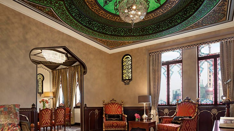 "An India-themed suite is part of the property's ""Nine Nations Suites."" // © 2017 Fairmont Peace Hotel"
