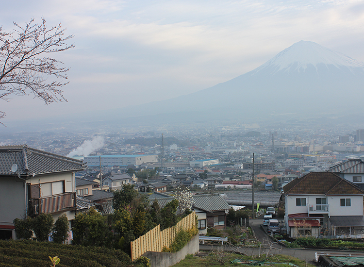 The view of Mount Fuji and Fujinomiya from Ryokan Tachibana, a traditional inn with 20 luxury guestrooms and an outdoor hot springs. // © 2014 Monica Poling