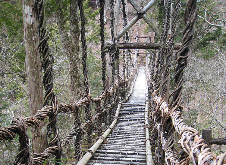 Iya Valley is famous for its numerous vine bridges, such as Kazurabashi Vine bridge, pictured here. // © 2015 Tourism Shikoku and Japan National Tourism Organization
