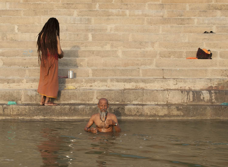 One man performs puja in Varanasi // © 2014 Mindy Poder