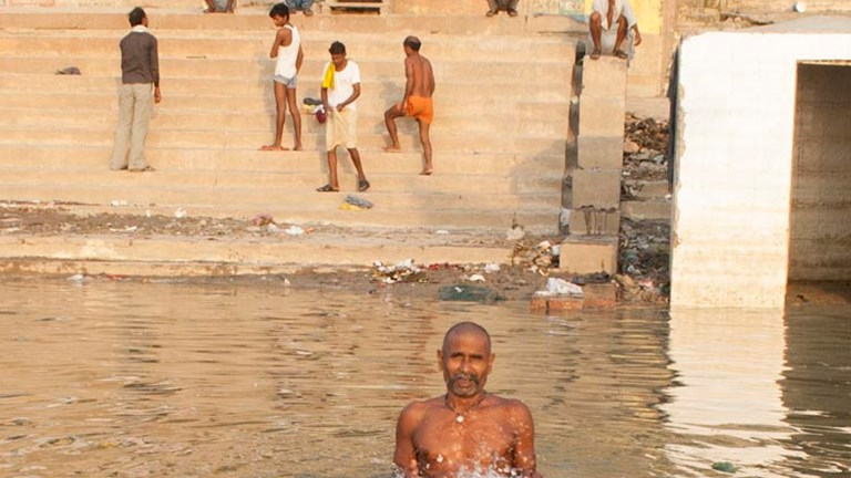 Varanasi has more than 80 ghats (a series of steps that lead into the river), and most ghats are used for bathing. // © 2014 Mindy Poder