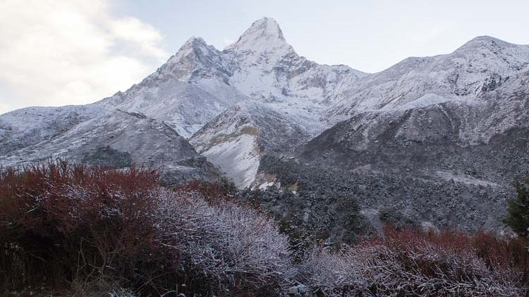 Trekkers on the Everest route are treated with views of many of the world's highest peaks, including Ama Dablam. // © 2015 Mindy Poder