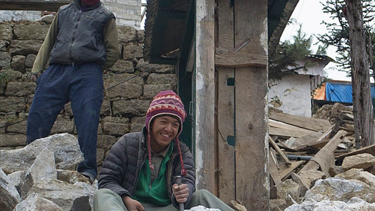 The dental clinic in Namche Bazaar is the only building that was destroyed, and it's being rebuilt. // © 2015 Mindy Poder